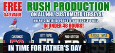 Free Rush Production (48 hours or less) On All Customized NHL Jerseys! $49 Value. NHLPA Certified. Pro-Stitch Tackle Twill.