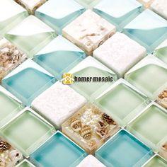blue glass mixed white stone sea shell kitchen backsplash mosaic tiles HMGM1148  #HomerMosaic