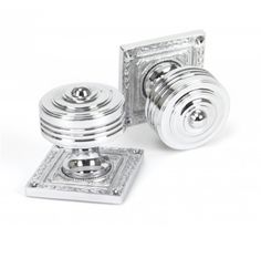 Tewkesbury Square Mortice Knob Set from the anvil - Product information Knob Size: Ø54mm Projection: 62mm Rose Size: Ø63mm Spindle Size: 8mm Supplied in Pairs, Supplied with fixings  Finishes Available - Polished Chrome, Aged Bronze, Polished Nickel & Aged Brass