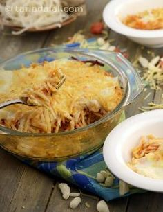 A king among spaghetti casseroles, this garlic dominated dish is cooked with tomato sauce, layered with white sauce, and topped with breadcrumbs to give it a crunchy texture.