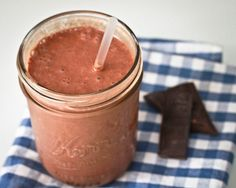# 2 frozen bananas  # 1/2 – 1 cup almond milk  # 2 heaping Tbs Chocolate Powder  # 2 squirts Vanilla Stevia