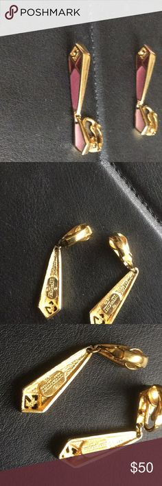 Givenchy Vintage  1979 Earrings Givenchy clip on earrings ..pink tones on gold tone...earrings look like enamel and have an Art Deco look ..signed  and dated 1979..Lovely ! Givenchy Jewelry Earrings