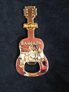 Hard Rock Cafe Bangkok Thailand Guitar Magnet Dog Lion Bottle Opener US Ship