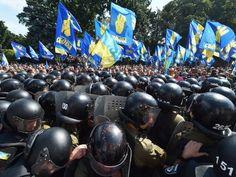 Protesters and police clash in Kiev, Ukraine.