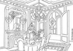Dining Room Free Printable Coloring PagesColor