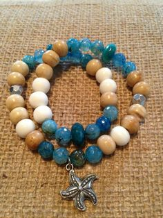 Blue fire agate, bone, wood, and pyrite double wrap bracelet with silver #starfishcharm from August Heart.   Facebook.com/augustheart