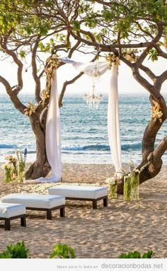 Ideas de decoración sencilla y natural boda en la playa