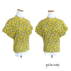 Rose Shirt Yellow Floral Blouse Dolman Top Cap Sleeves Vintage 80s 1980s Avon Fashions High Neck Size Small Medium Indie Hipster Cute by GoodLuxeVintage on Etsy