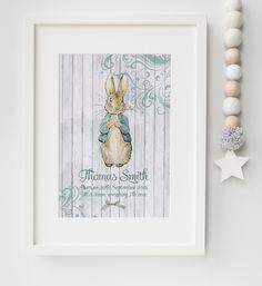 Personalised New Baby Boy/Girl Peter Rabbit Jemima Puddleduck Nursery Birth Name Print Keepsake Picture Christening Gift by LexisLittlePrints on Etsy
