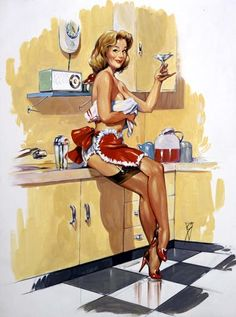 Kitchy kitchen vintage pin-up...a martini makes the housework sooo much more enjoyable!  Vintage Happy Housewife getting her done.