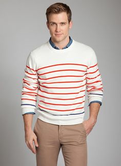 100% Cotton Ivory and Orange Nautical Stripe Riviera Sweater | Mens Spring Fashion