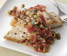 Tonight's dinner: fast, easy, and delicious! Mahi Mahi with Tomato, Olive, and Caper Sauce recipe