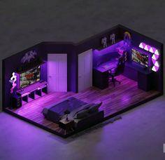 3d animated rendered custom gaming room by Grassia615 Gamer Bedroom, Bedroom Setup, Room Design Bedroom, Room Ideas Bedroom, Computer Gaming Room, Gaming Room Setup, Cool Gaming Setups, Pc Setup, Cool Room Designs