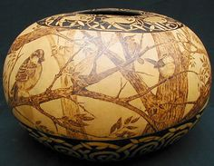Tree of Life Celtic Rim very large pyrography gourd by JRAGourdArt