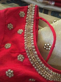 See related links to what you are looking for. Blouse Patterns, Saree Blouse Designs, Blouse Styles, Hand Work Embroidery, Embroidery Stitches, Embroidery Dress, Beaded Embroidery, Embroidery Designs, Blouse Desings