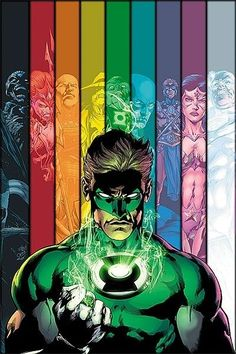 The various Lantern Corps - Black, Red, Orange, Yellow, Green, Blue, Indigo, Violet (Sapphire) & White
