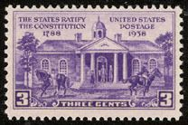 1938 3c Constitution Ratification 150th Anniversary Scott 835 Mint F/VF NH  www.saratogatrading.com