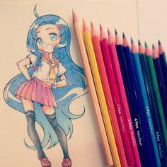 """流れ星 on Instagram: """"Painted with hexacolor I buy in the supermarket owo)♥ #tradicional #seifuku #pencil #instaanime #instadraw #kawaii"""""""