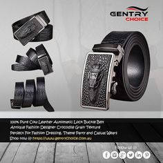 Shop now @ Gentry Choice. Leather Chain, Leather Belts, Cow Leather, Suede Leather, Designer Belts, Belt Buckles, Crocodile, Casual Wear, Best Gifts