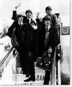 """Feb The Beatles arrive in America at JFK Airport in New York, greeted by thousands of screaming fans. Their first concert would be held at Shea Stadium. They ushered in a """"British Invasion"""" that revolutionized American Pop music for generations to come! Great Bands, Cool Bands, British Invasion, The Fab Four, Ringo Starr, Popular Music, The Good Old Days, Paul Mccartney, John Lennon"""
