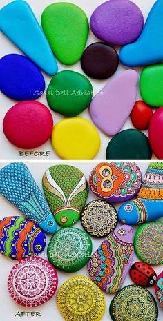 Piedras pintadas: piedras, rocas, decoración, pintura, Tutorial de Artesanía, I…