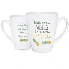 Personalised Pineapple Latte Mug Whether it's used for tea, coffee or pina colladas, this Pineapple Latte Mug is sure to be well received by the recipient! £9.99