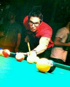 Zak Bagans playing pool... For the love of God that man's pretty.