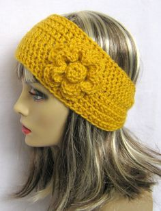 Items similar to Crochet Flower Headband / Earwarmer / headwrap in Sunflower yellow - Charity - Women, Teen, Fashion accessories, fall winter on Etsy Crochet Flower Headbands, Crochet Headband Pattern, Crochet Scarves, Crochet Yarn, Crochet Flowers, Crochet Beret, Yarn Projects, Crochet Projects, Crochet Pattern Central