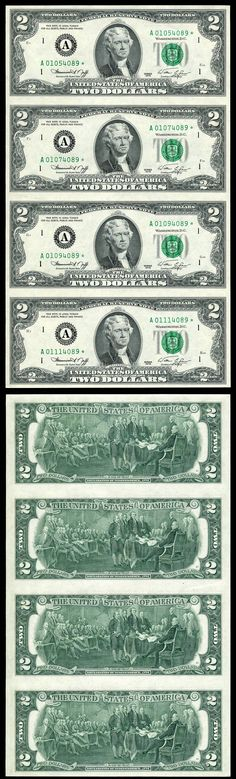 1976 $2 Federal Reserve Star 4 Note Uncut Sheet A* Boston Massachusetts District 4/15/2012 UERR