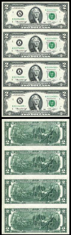 1976 $2 Federal Reserve Star 4 Note Uncut Sheet A* Boston Massachusetts District 4/15/2012 UERR