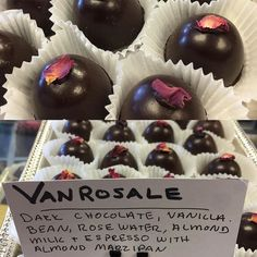 #Vanrosale Dark chocolate truffle with vanilla bean rose water almond milk & espresso with a layer of almond marzipan! #darkchocolate #vanilla #rose #rosewater #espresso #marzipan #almond #teasechocolates #cityofdestiny #pnw #truffles
