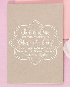 SALE 15% off all STAMPS w/coupon code LOVE15 Custom Save the Date Rubber Stamp with Modern Calligraphy on Etsy, $75.00