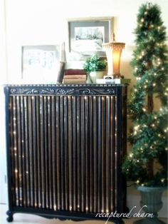 Radiator cover becomes an absolutely gorgeous lighted console table.