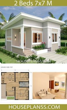 Small House Design Plans with 2 bedrooms - house plans Sam - architecture . - Small House Design Plans with 2 bedrooms – House Plans Sam – Architecture – # - Simple House Design, Tiny House Design, Modern House Design, House Design Plans, Design For Small House, Small House Interior Design, Ideas For Small Houses, Small House Interiors, Small Modern Houses