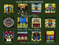 """THREE COLLECTIONS - Windows of Grace Coasters · 19th Century Prairie Style Motifs · 4""""x4"""" tiles · matte finish · artist signed · produced locally on USA made ceramic tiles ·  $28.00/Collection - ($8 shipping per collection in USA) TO ORDER: http://www.alicelynn.com/windows-of-grace.html - art@alicelynn.com - 417·825·0706"""