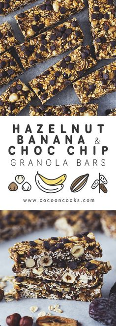 Hazelnut, Banana & Chocolate Chip Granola Bars, 100% plant-based and naturally sweetened. Perfect for a healthy snack! #vegan #recipe