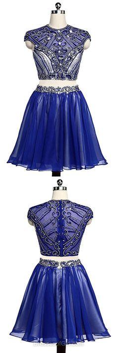 Beading Prom Dresses,Royal Blue Homecoming Dresses,Two Piece Cocktail Dress,Beautiful Prom Dresses,Short Graduation Dresses