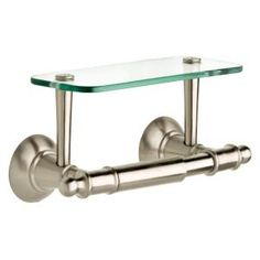 Delta Double Post Toilet Paper Holder with Glass Shelf in Satin Nickel HEXTN50-BN at The Home Depot - Mobile