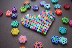 Perler Beads Heart & Daisies