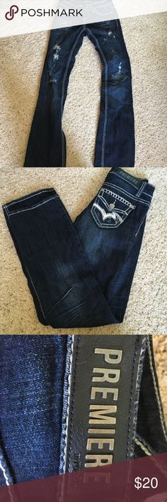 Rue 21 jeans. Worn a few times. In great condition. Dark blue and distressed on the front legs. Very cute. Rue 21 Jeans