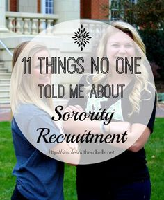 11 Things No One Told Me About Sorority Recruitment that would have made all the difference  http://simplesouthernbelle.net Sorority Rush Week, College Sorority, Sorority Life, College Nursing, My College, College Hacks, College Girls, Sorority Resume, Sorority Recruitment Outfits