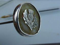 Vintage Thistle design Silver hallmarked button tip hat pin