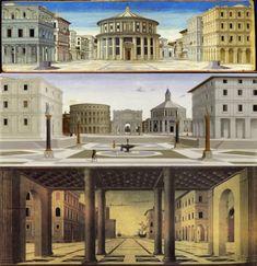 """La """"Città Ideale"""" della Galleria Nazionale delle Marche di Urbino, la """"Città Ideale"""" alla Walters Art Gallery di Baltimora, la """"Città Ideale"""" del Bode Museum di Berlino"""