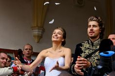 UCI World Champion Peter Sagan and his wife Katarina Smolkova are seen after their wedding in the town of Dolny Kubin in North Slovakia on November 11, 2015.