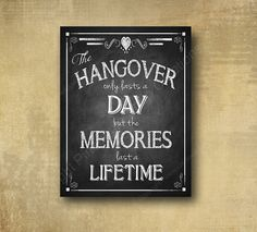 Printed Alcohol HANGOVER bar sign perfect for your wedding- chalkboard signage - with optional add ons on Etsy, $8.00