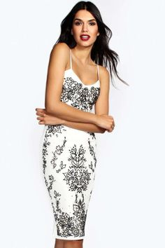 boohoo Ava Embellished Front Strappy Sweetheart Midi Dress