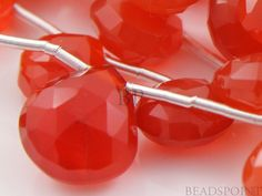 Natural  NO TREATMENT Carnelian Micro Faceted Heart by Beadspoint, $17.95