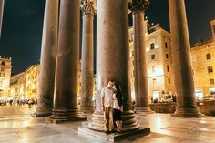 Destination Couples photos in Rome at the Pantheon  by: Rowell Photography