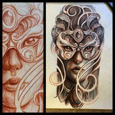 Women mask tattoo idea