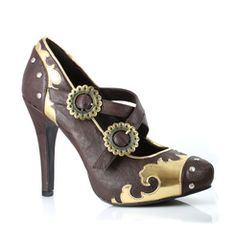 Rock out with your Steampunk out with these brown leather 4 inch heels featuring gold colored metal trim, and adjustable straps. [[starttab]] Shoe Sizing Chart Order your USA size USA SHOE SIZEEUUKMEX Steampunk Shoes, Steampunk Couture, Steampunk Cosplay, Steampunk Accessories, Steampunk Design, Steampunk Clothing, Steampunk Fashion, Gothic Fashion, Renaissance Clothing